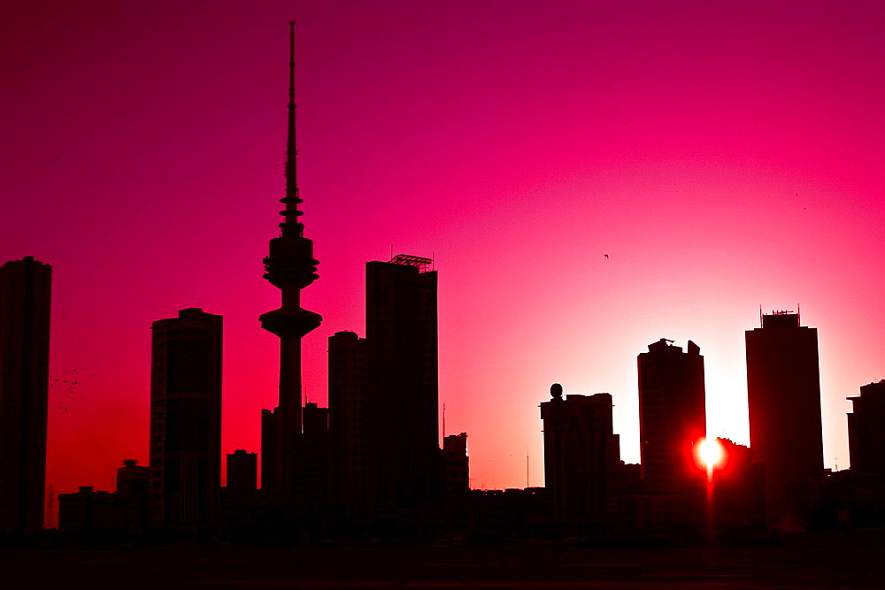 silhouette of Skyscrapers and Liberation tower, kuwait city