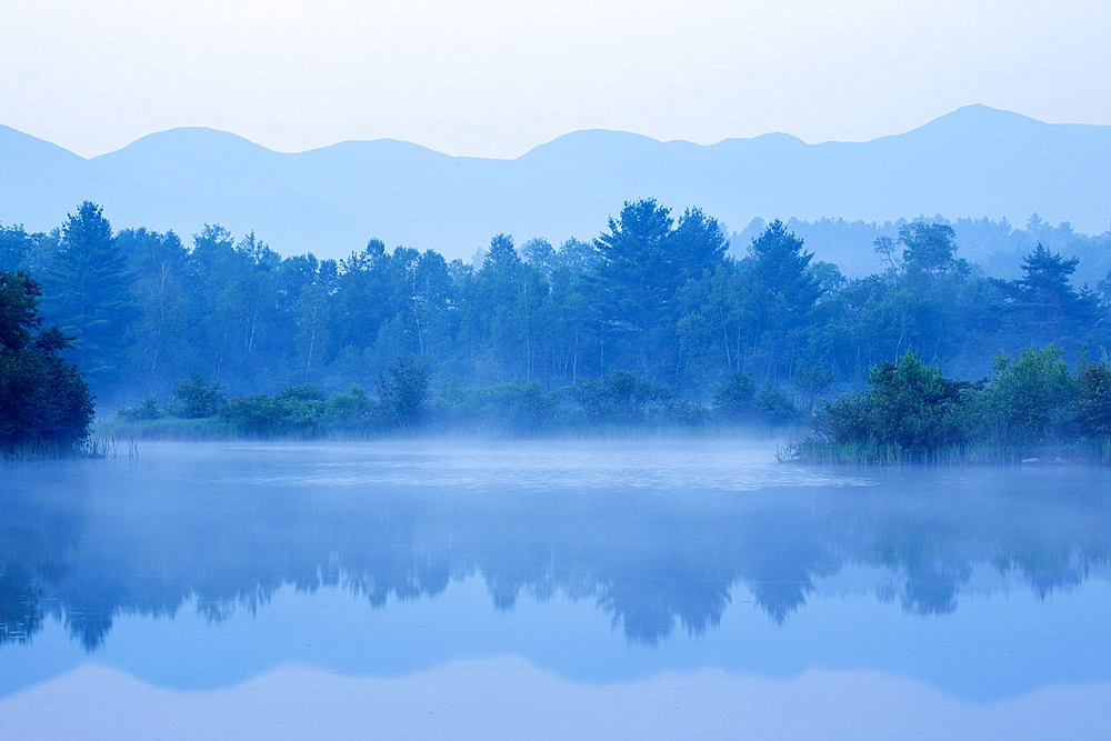 Foggy morning at Coffin Pond in Sugar Hill, New Hampshire, United States of America