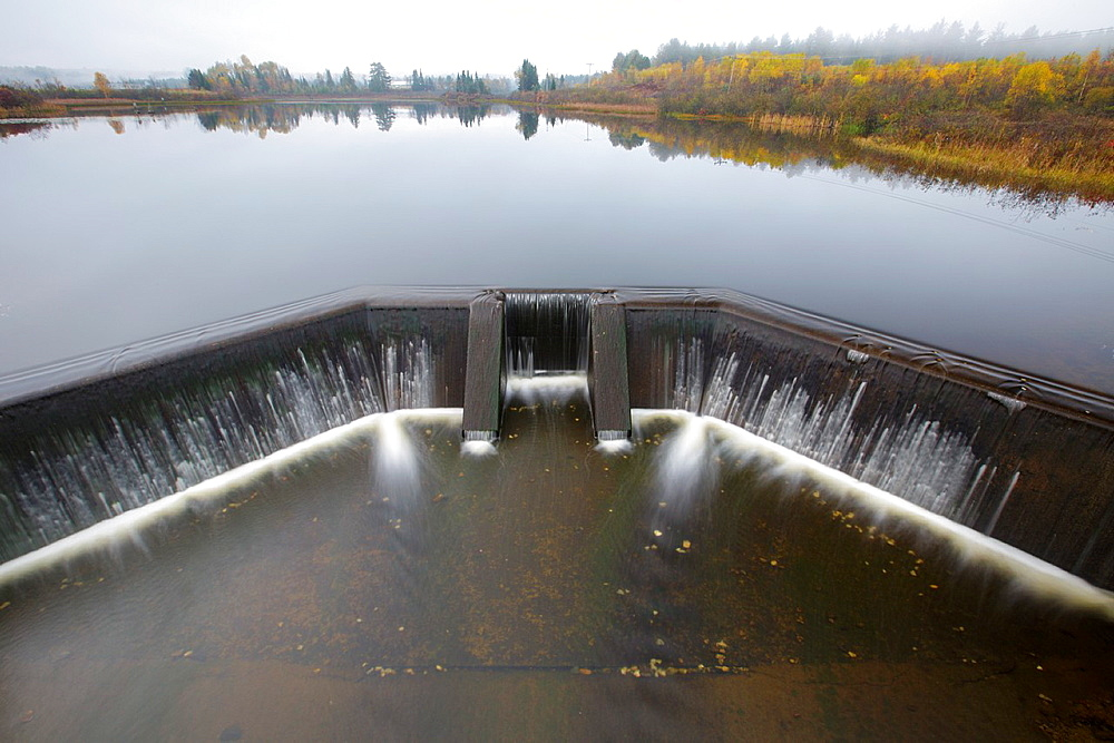 Dam at Airport Marsh near Mt Washington Regional Airport in Whitefield, New Hampshire, United States of America during foggy conditions