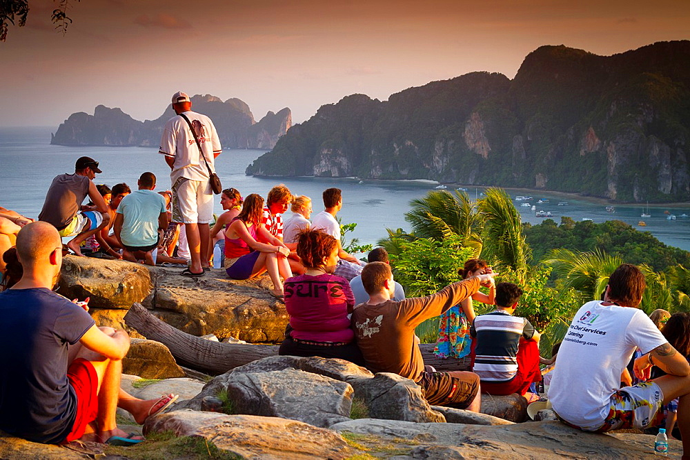 Tourists in a viewpoint Phi Phi Don island Krabi province, Andaman Sea, Thailand - 817-413591