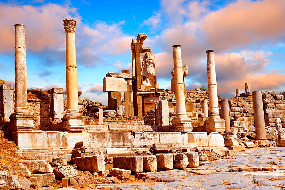 The Memmius Monument was built in the 1st century B C to honour Mmmius, the grandson of Emperor Sulla and son of Caicus whose sculptures can be seen on the monument Ephesus Archaeological Site, Anatolia, Turkey