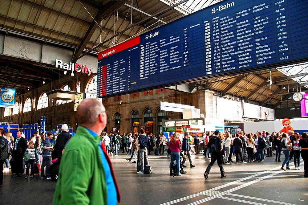 Hauptbahnhof, Main Railway Station In Zurich, Switzerland