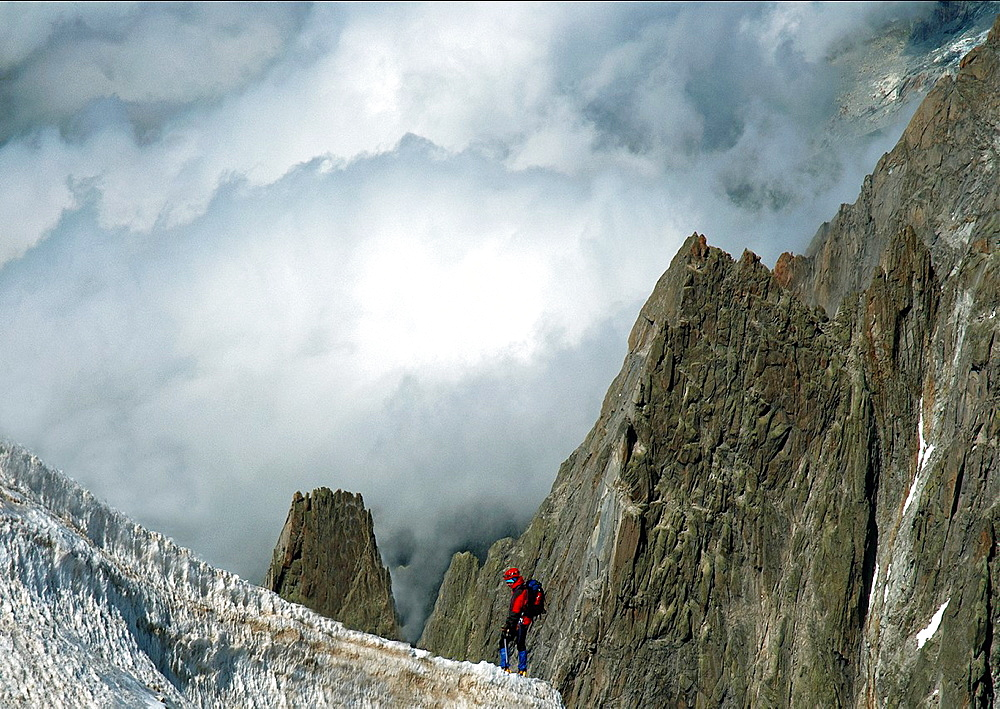 Lonely Climber In French Alps, Mt Blanc Massif, France, Europe