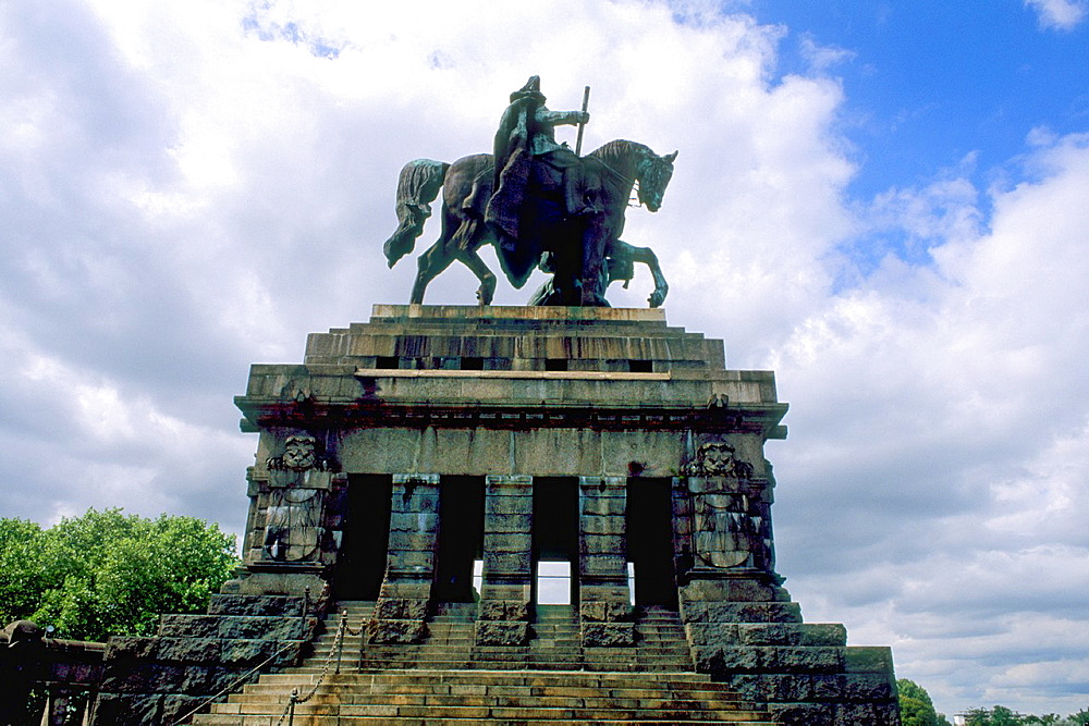 Germany Koblenz Old Town by Rhine River Statue of Emperor Kaiser Wilhelmin 1870