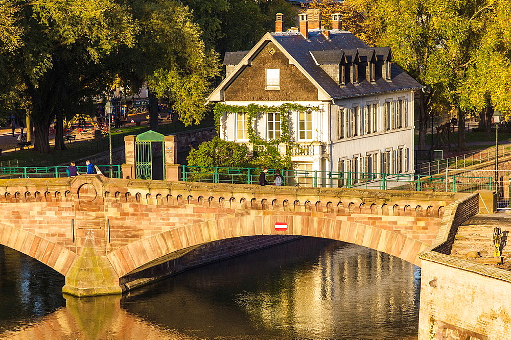 Ponts Couverts bridge and white house at riverside Strasbourg Alsace France