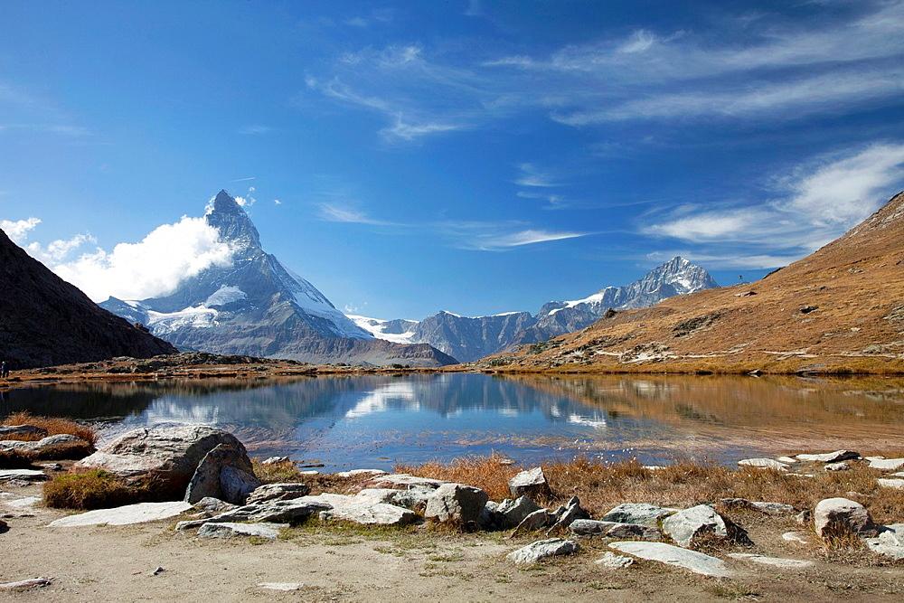 Switzerland Canton Valais Zermatt Matterhorn, view from Riffelsee.