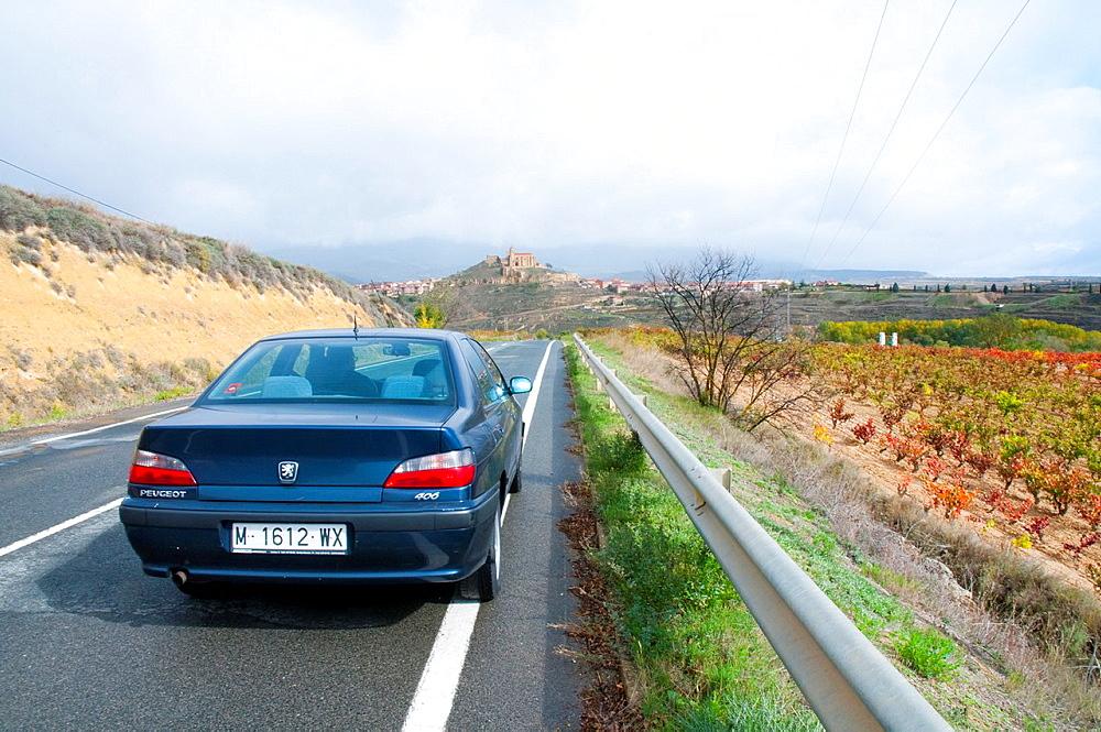 Car on a side road. La Sonsierra, La Rioja province, Spain.