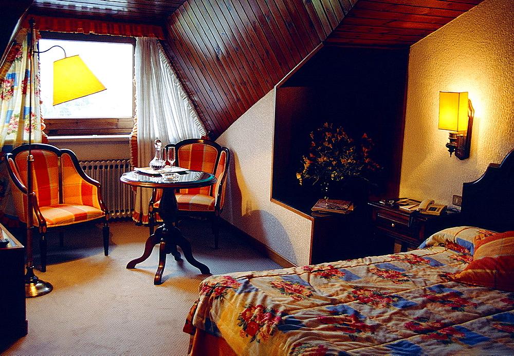 Bedroom in a luxury hotel.