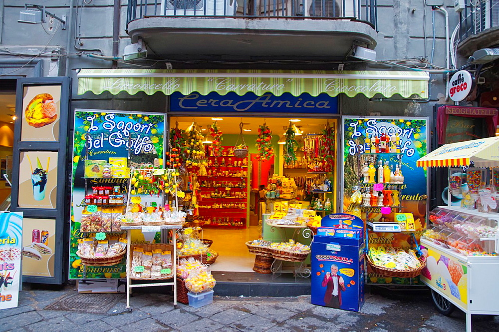 Souvenir shop selling sweets and ceramics Spaccanapoli street centro storico the old town Naples city La Campania region southern Italy Europe