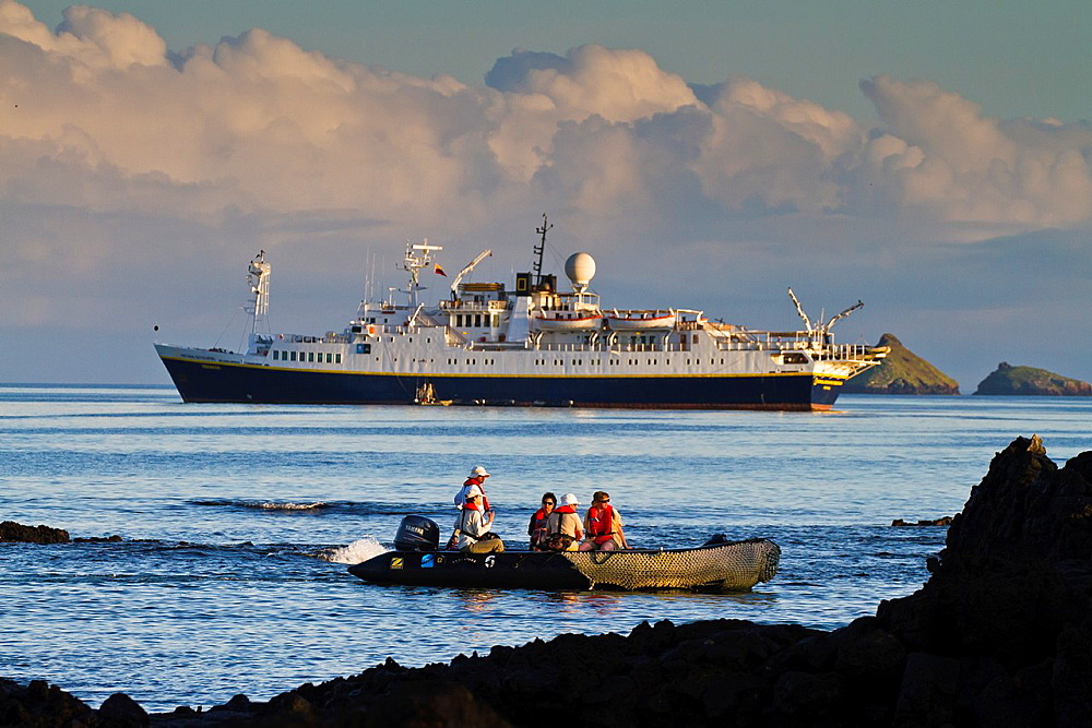 Zodiac operations from the Lindblad Expedition ship National Geographic Endeavour at Cerro Dragon, Santa Cruz Island in the Galapagos Islands, Ecuador
