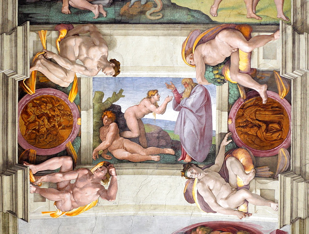 Creation of Eve at Sistine chapel by Michelangelo, Vatican, Rome, Italy