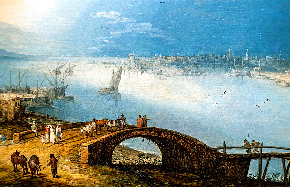 Jan Brueghel the Younger, A coastal city view with peasants crossing the bridge, 1630, Oil on panel