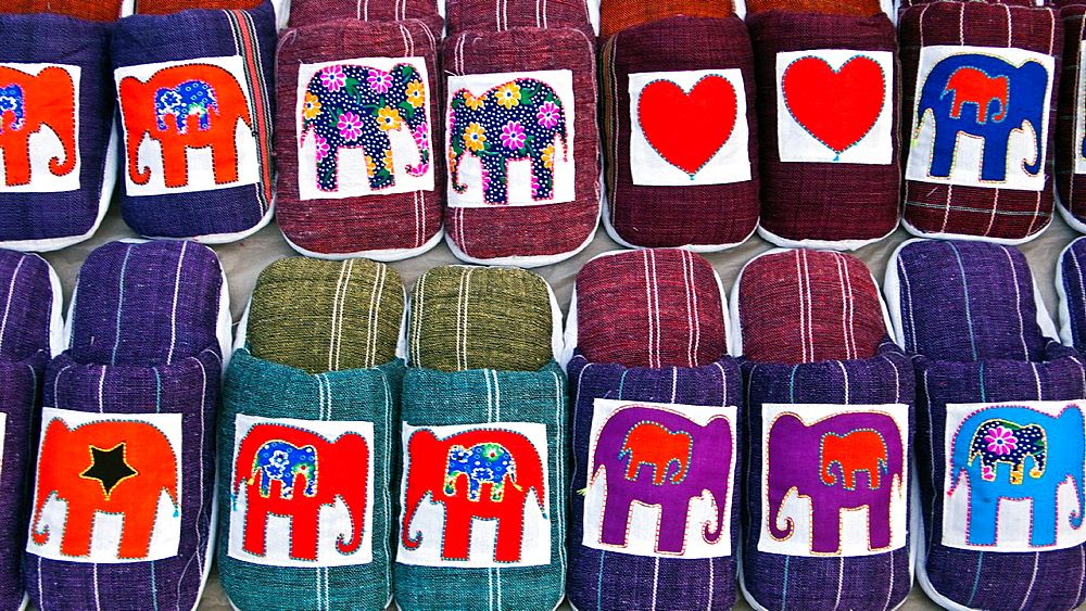 Elephant design slip-on slippers night market Luang Prabang Laos