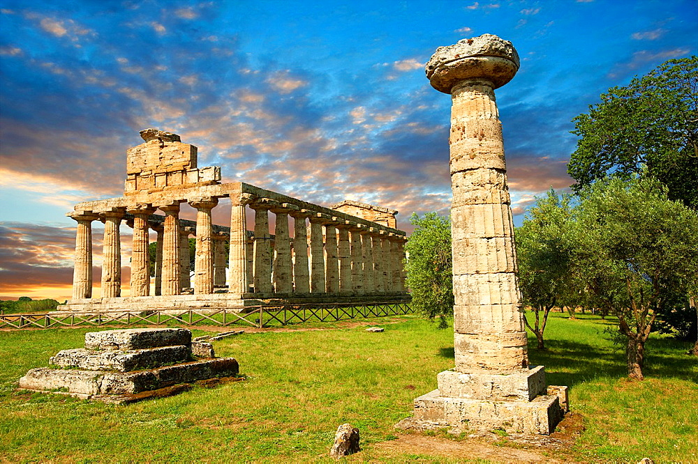 The ancient Doric Greek temple of Athena of Pastum built in about 500 BC Paestum archaeological site, Italy