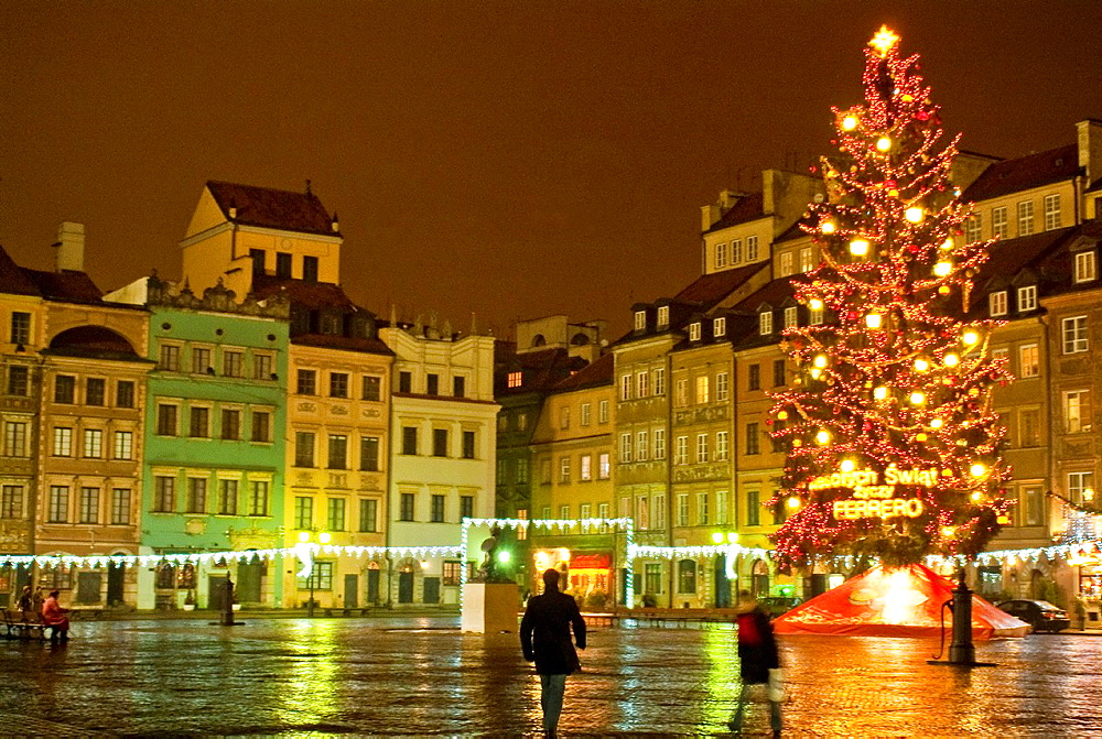 The Old Town Square with Christmas Tree at night, Warsaw, Poland