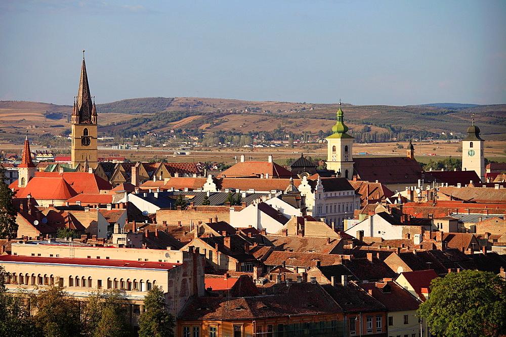 Romania, Sibiu, skyline, aerial view, panorama,