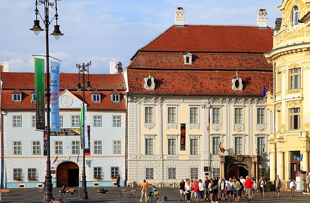 Romania, Sibiu, Piata Mare, Blue House, Brukenthal Palace, Town Hall,