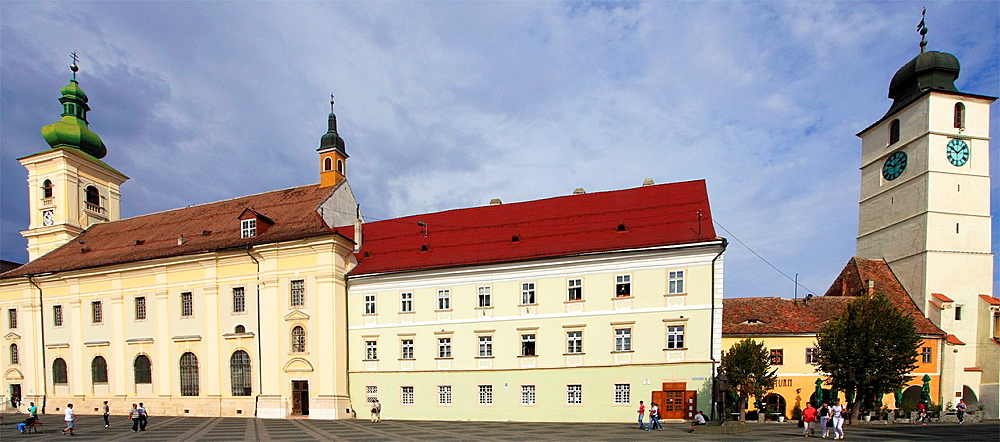 Romania, Sibiu, Piata Mare, Holy Trinity Catholic Church, Council Tower,