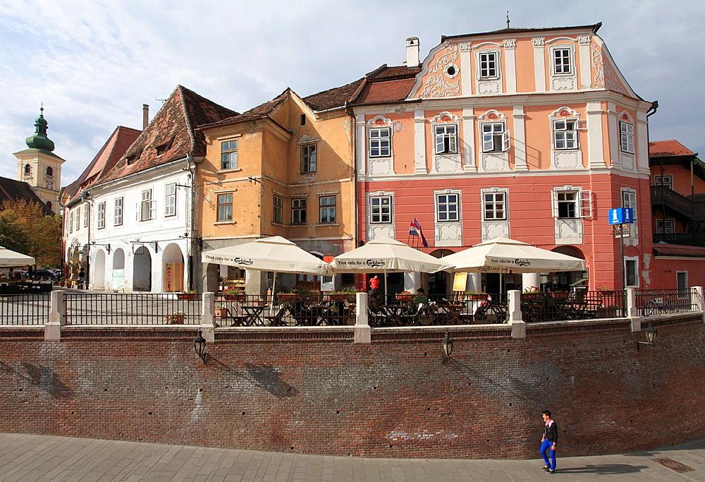 Romania, Sibiu, Piata Mica, street scene,