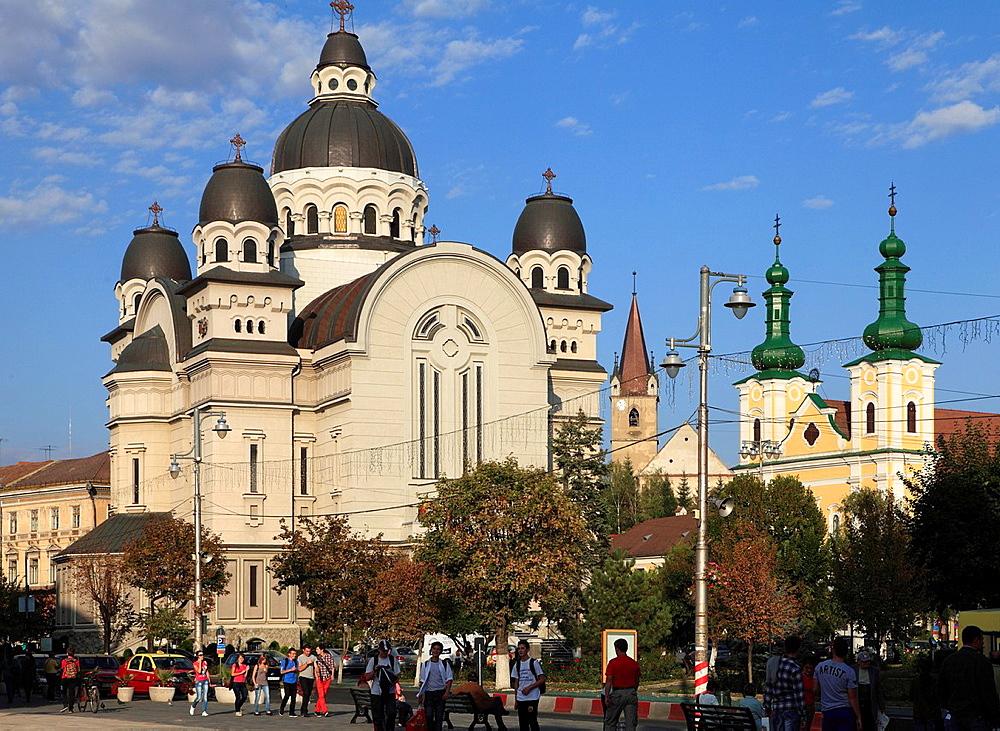 Romania, Targu Mures, Orthodox Cathedral, Catholic Church,