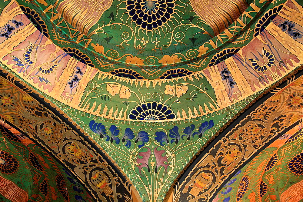 Romania, Targu Mures, Culture Palace, interior, painted ceiling,