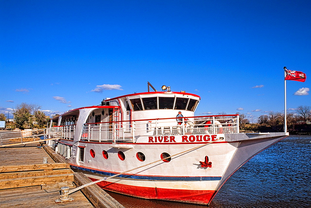 Modern downtown white River Rouge boat for tourists of Winnipeg Manitoba Canada