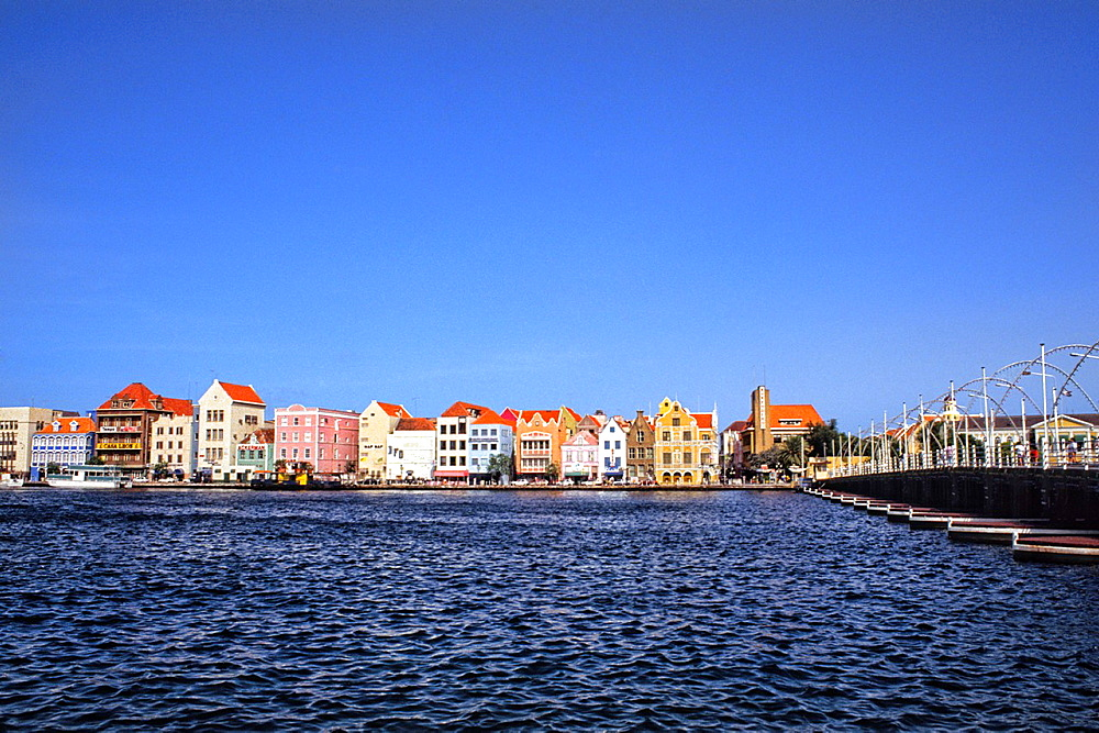 Pastel houses and port called Punda Gables of Handel Skade in downtown Curacao Caribbean