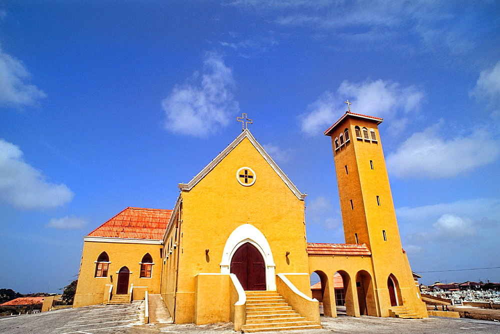 Colorful Church of the Margaret Church after Princess Margaret in downtown Curacao Caribbean