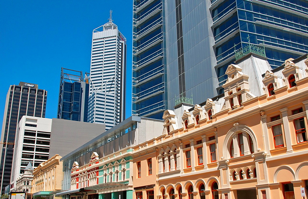 Forest Place joining old and new buildings in downtown at Williams Street Perth in Western Australia Australia