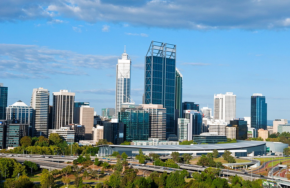Panoramic of city with beautiful skyline of Perth from above at Kings Park in Western Australia Australia