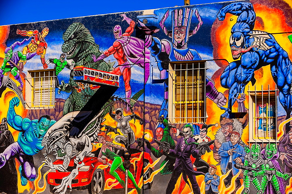Mural of comic book super heroes on the side of ¥Masks Y Mas¥ store, Albuquerque, New Mexico USA