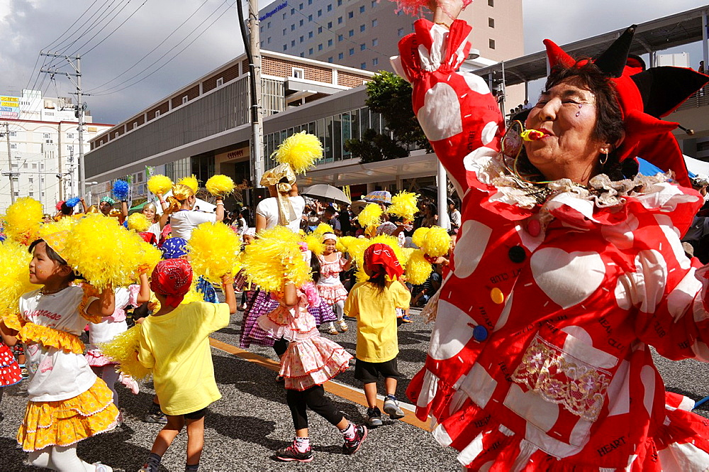 Naha, Okinawa, Japan, folkloristic group inspired to Sao Vicente, the Brazilian twin city of Naha, along Kokusai-dori during the Naha Festival, October