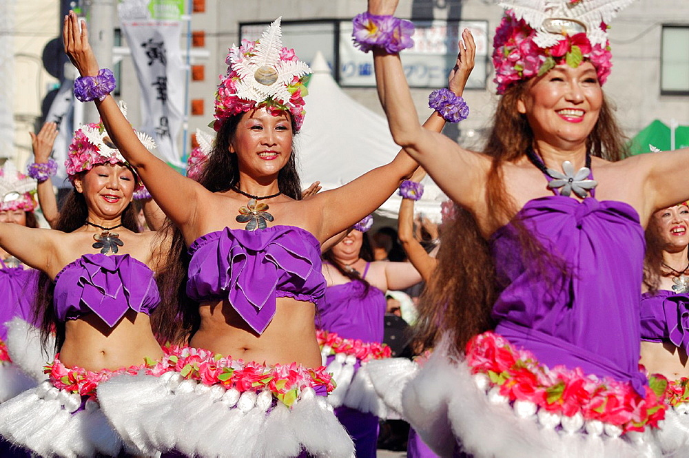 Naha, Okinawa, Japan, Hawaiian Hula dancers along Kokusai-dori during the Naha Festival October