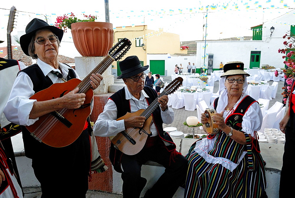 Musicians during local fair at the village of Arico, Tenerife, Canary Islands, Atlantic Ocean