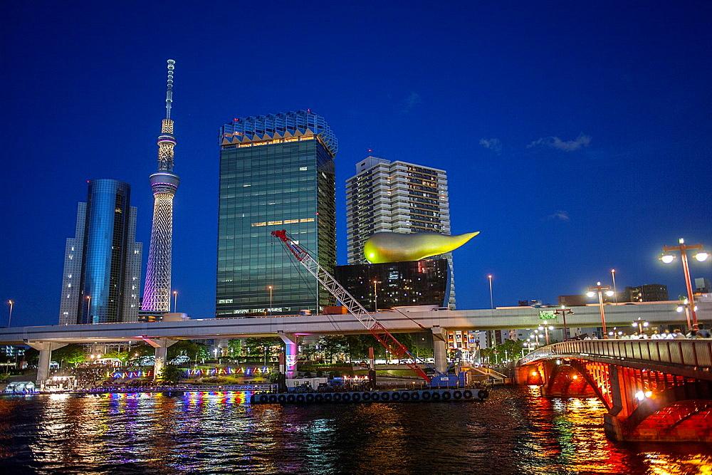 Sky Tree and Asahi building from Sumidagawa river, Asakusa District, Tokyo, Japan