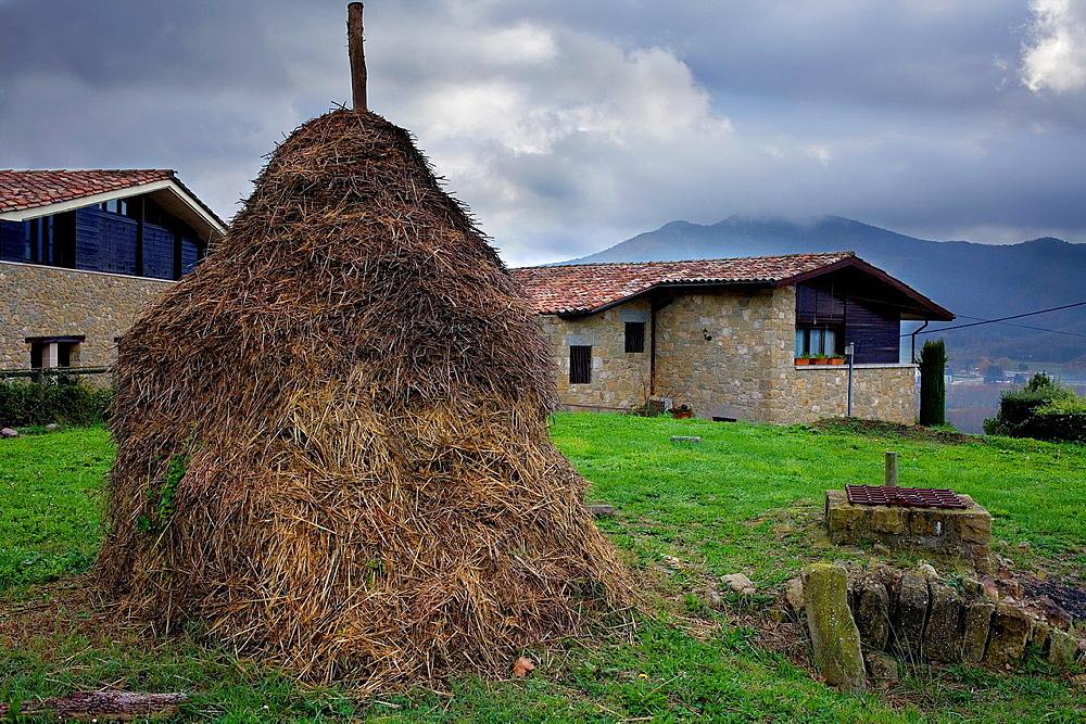 Haystack in Mallol,Girona province, Catalonia, Spain
