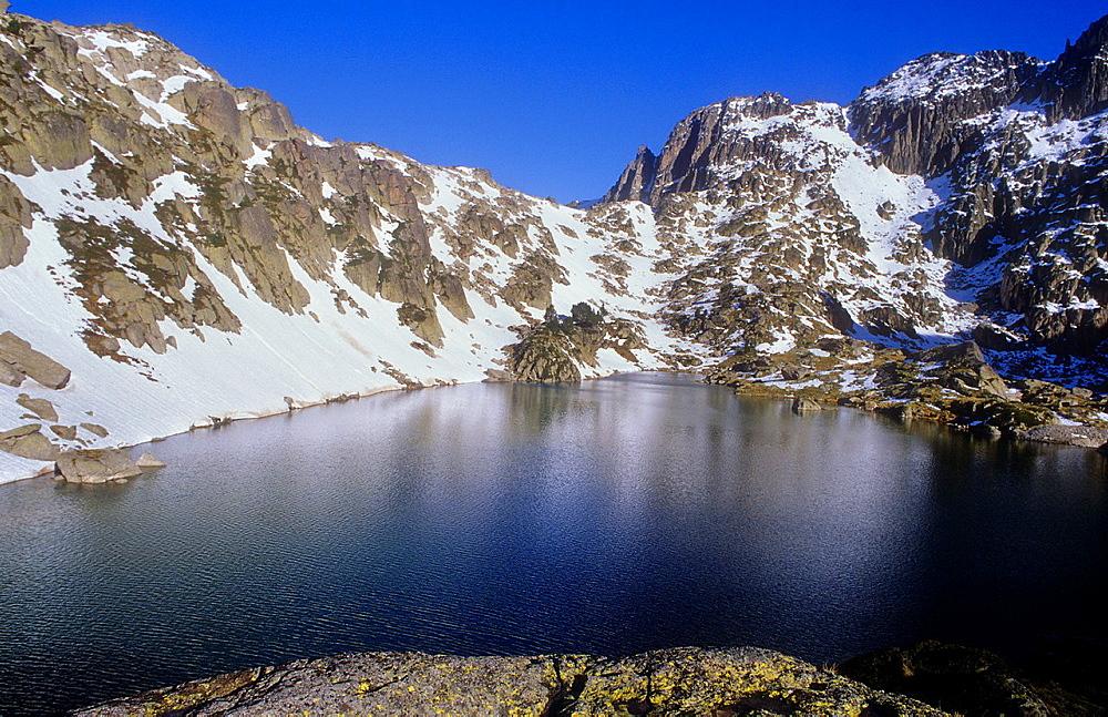 `Estany de Barbs¥ Barbs lake,next to Amitges refuge,Aiguestortes i Estany de Sant Maurici National Park,Pyrenees, Lleida province, Catalonia, Spain