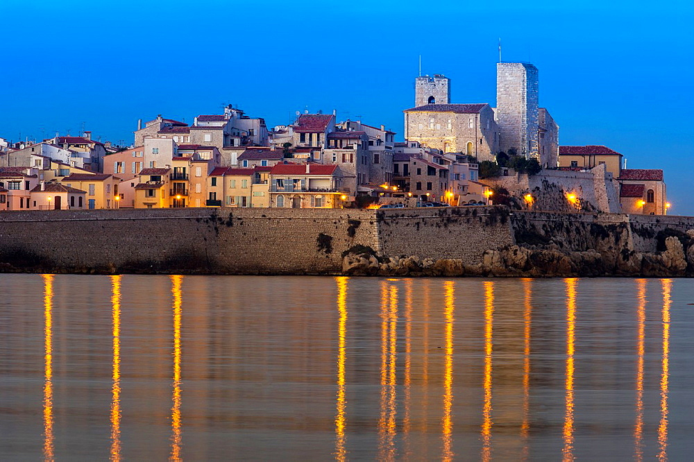 Europe, France, Alpes-Maritimes, Antibes. Old City and its Walls at dusk.