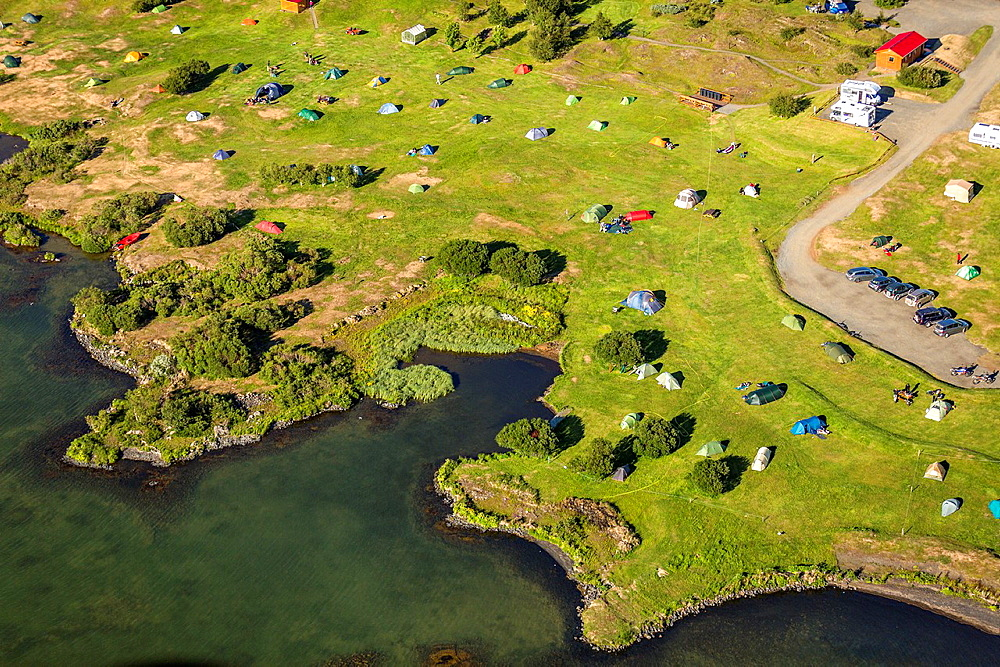 Aerial of campground, Lake Myvatn, Northern Iceland