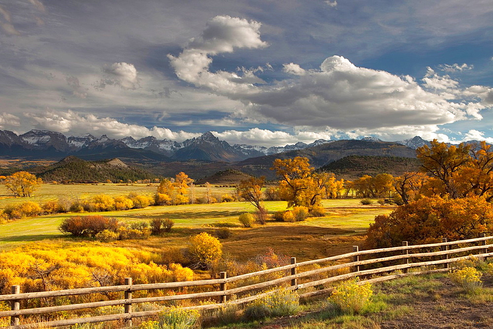 The mountain range known as the Dallas Divide at sunset, Colorado, USA