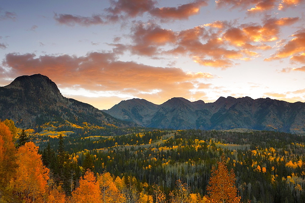 Sunset at the San Juan mountain range in Autumn with fall colors, Colorado, USA
