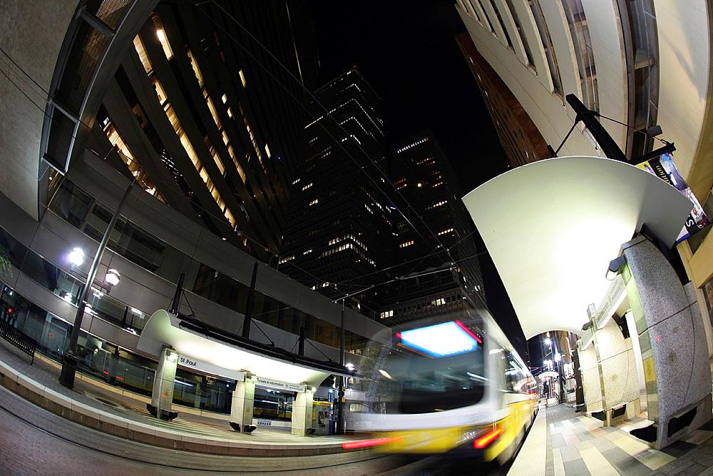 DART Rail system, Fisheye view, Downtown Dallas, Dallas, Texas, USA