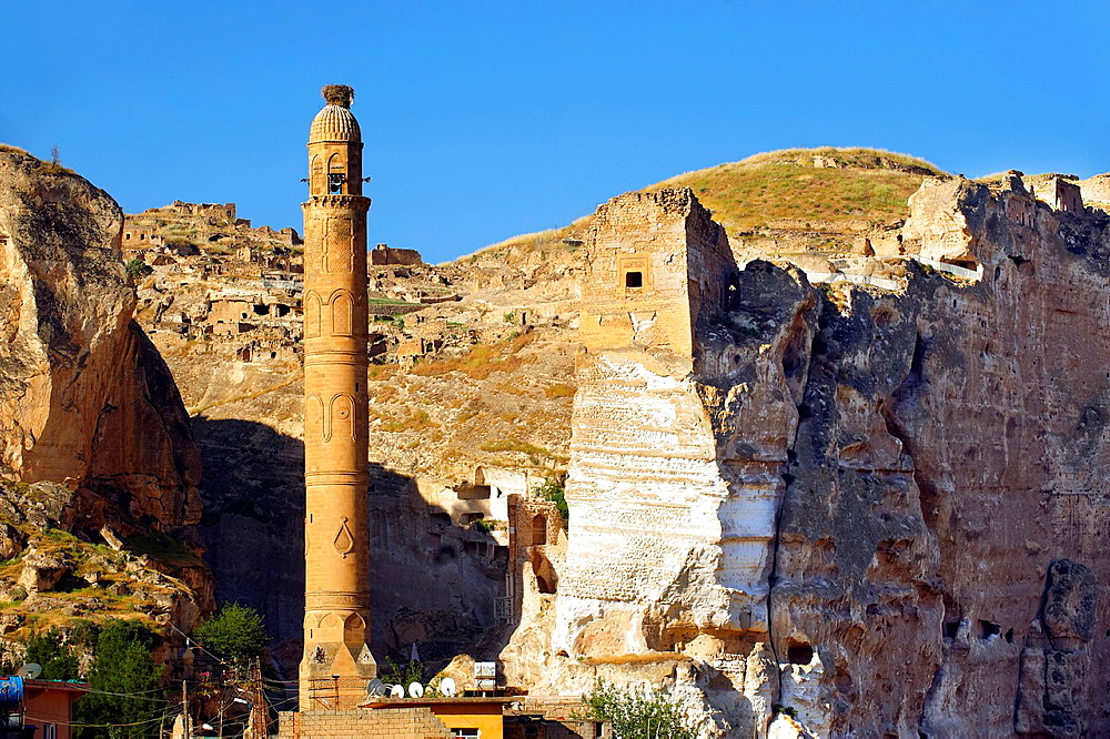 Ayyubid El Rizk Mosque ancinet citadel & Artukid Little Palace of Hasankeyf The Mosque was built in 1409 by the Ayyubid sultan Suleyman and stands on the bank of the Tigris River It has Kufic incriptions & decorations Turkey