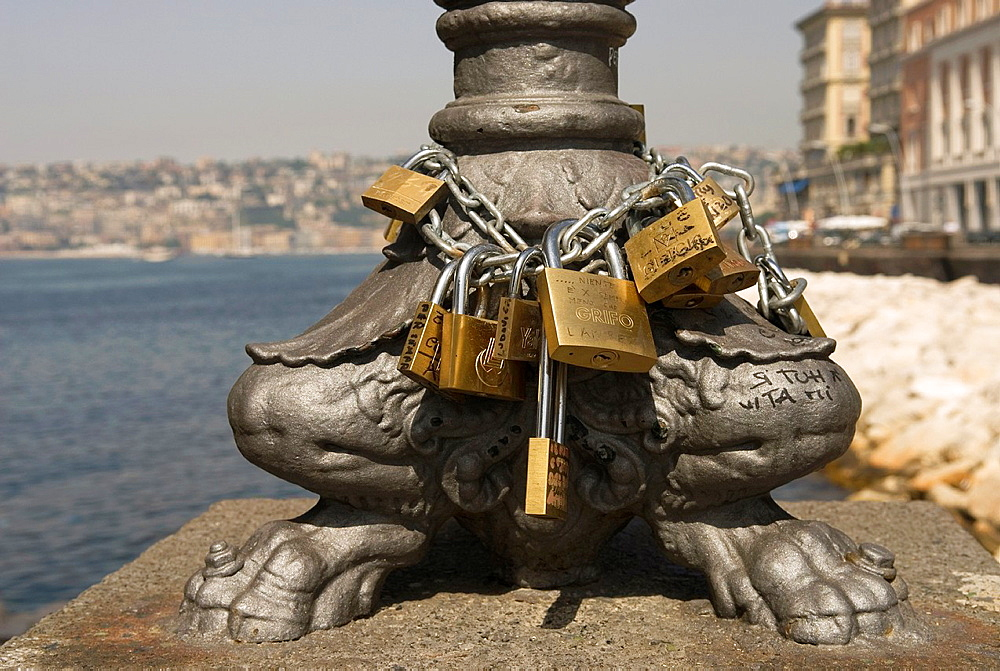 padlocks for proof of eternal love, Naples, Campania region, southern Italy, Europe