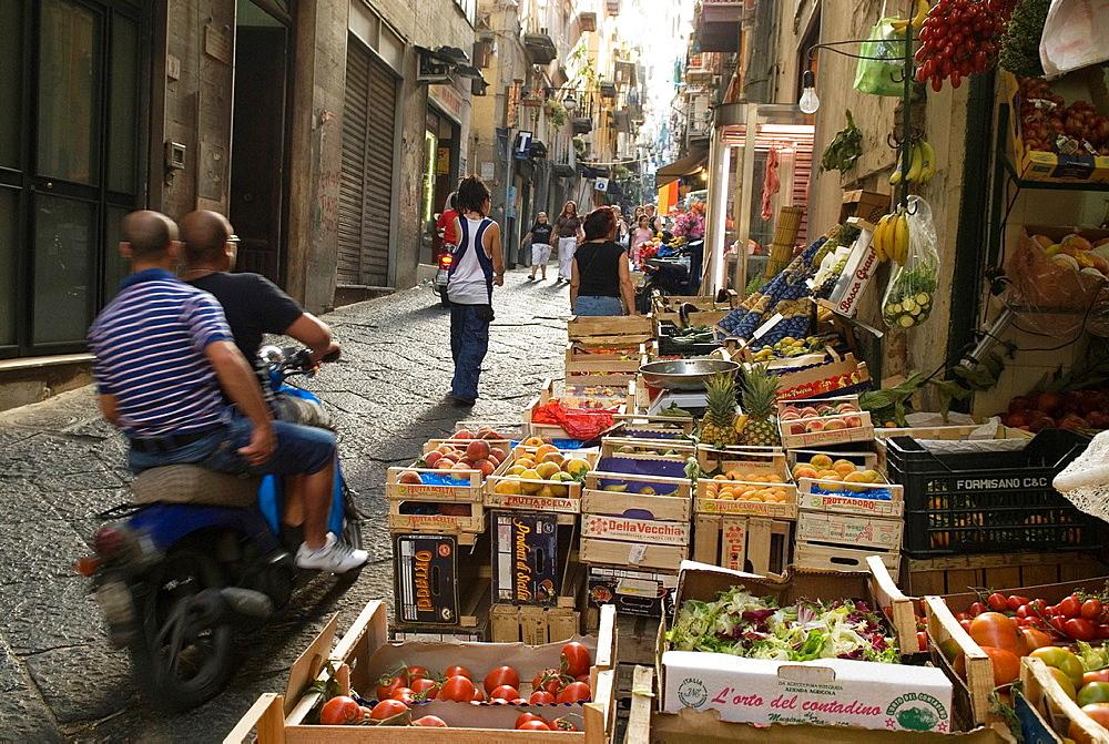 cobbled street in Montecalvario Quarter, Spanish Quarters, Historic center, Naples, Campania region, southern Italy, Europe