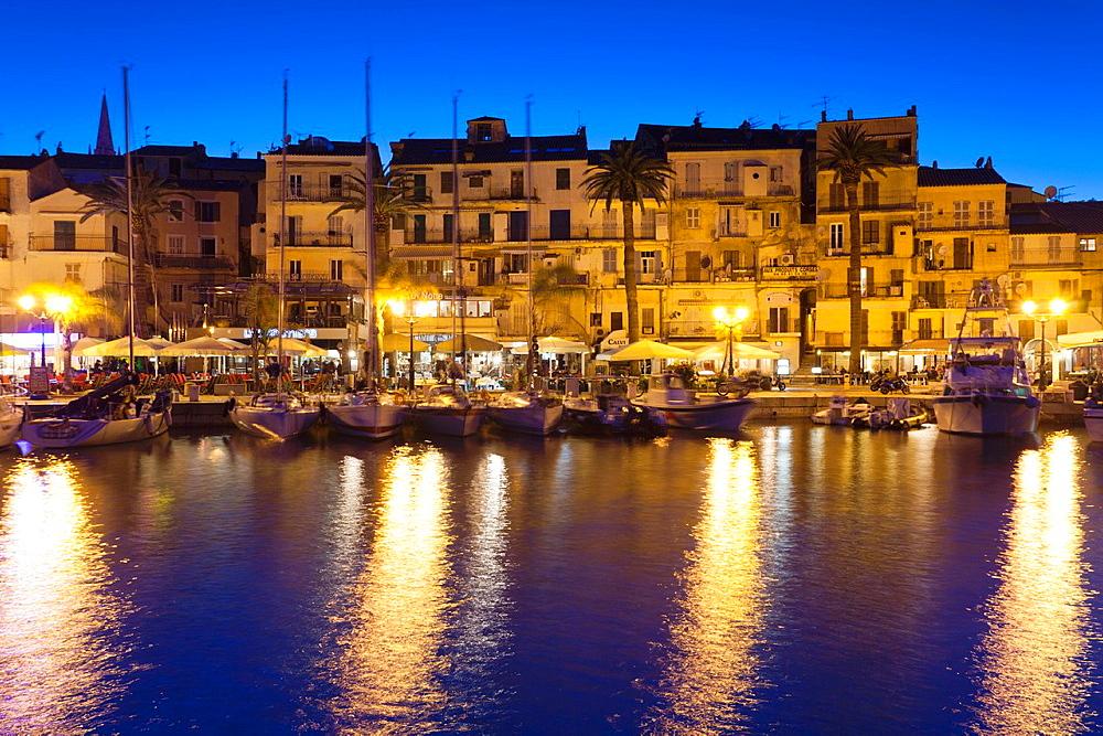 France, Corsica, Haute-Corse Department, La Balagne Region, Calvi, Port de Plaissance, yacht harbor, dusk