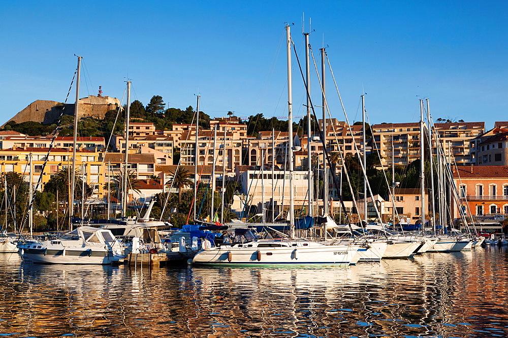 France, Corsica, Haute-Corse Department, La Balagne Region, Calvi, Port de Plaissance, yacht harbor, dawn