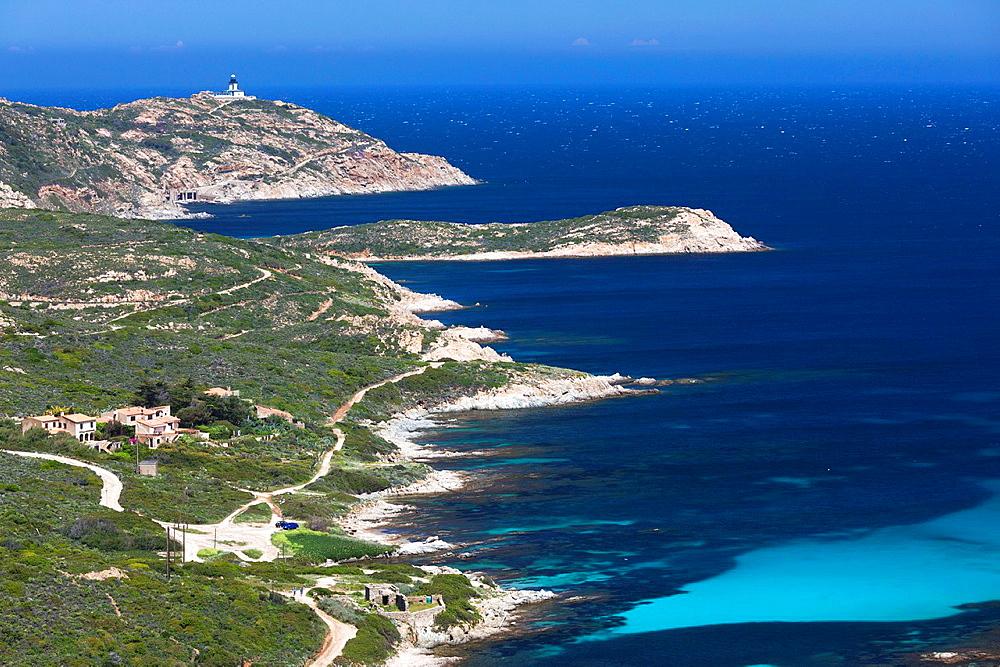 France, Corsica, Haute-Corse Department, La Balagne Region, Calvi, elevated view of the Punta Revellata lighthouse