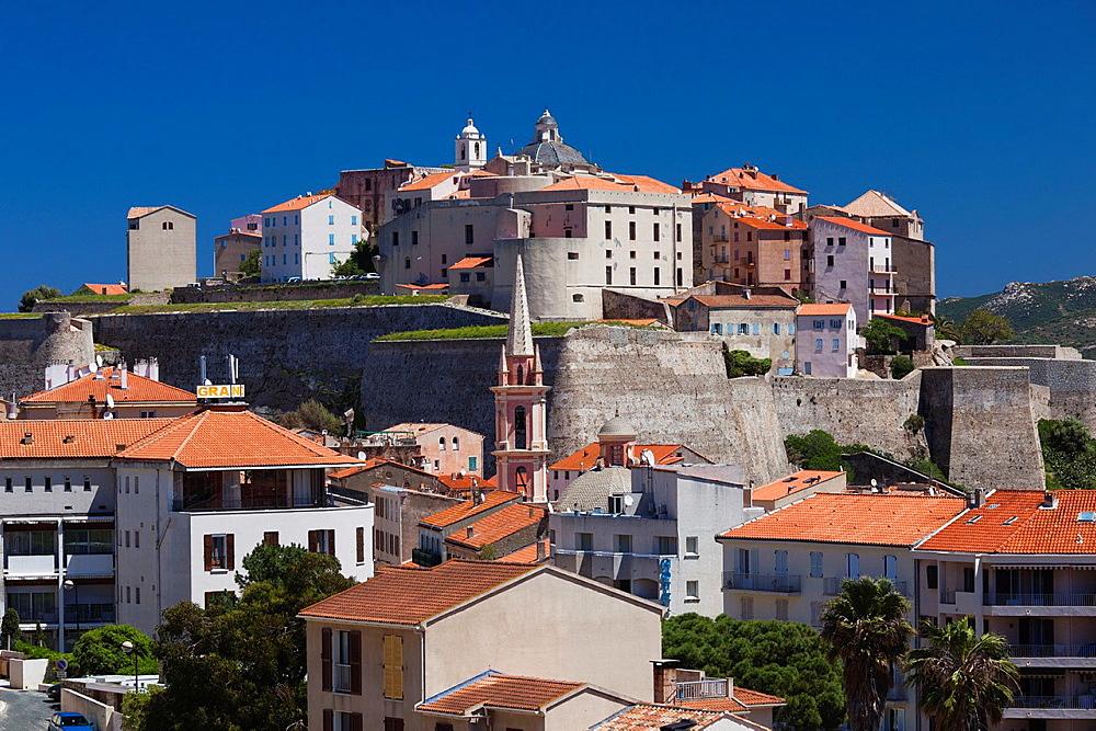 France, Corsica, Haute-Corse Department, La Balagne Region, Calvi, elevated view city and Citadel, morning