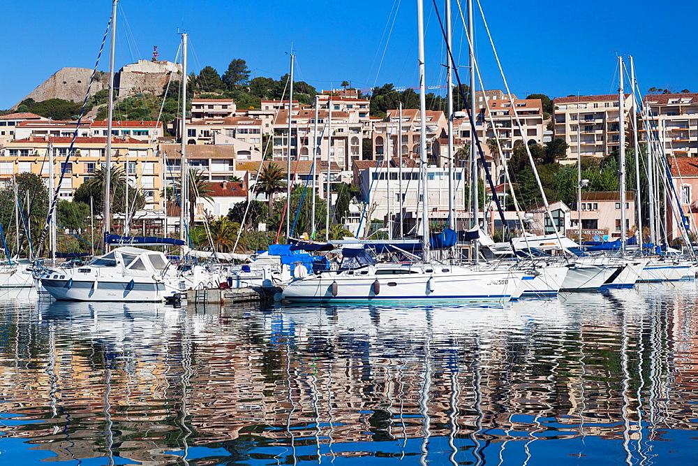 France, Corsica, Haute-Corse Department, La Balagne Region, Calvi, Port de Plaissance, yacht harbor, morning